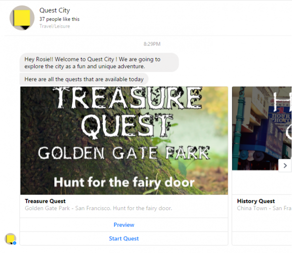 This particular app used Facebook messenger to communicate with users