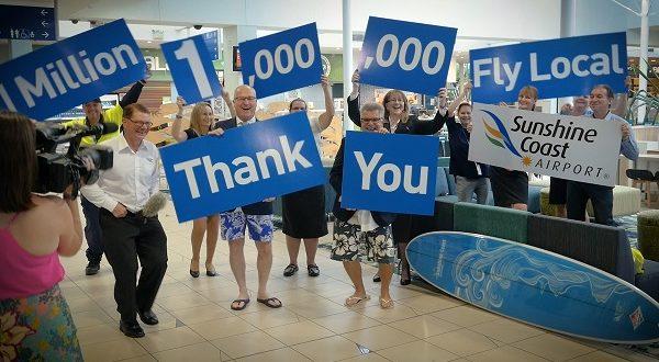 1.Sunshine Coast Mayor, Mark Jamieson, and the team of Sunshine Coast Airport celebrate the million passenger record