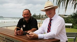 Mayor Mark Jamieson and Ashley Robinson test out the new wifi at Alex