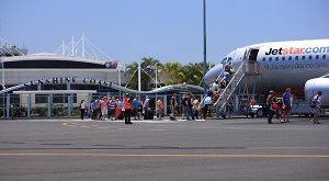 Jetstar flight at Sunshine Coast Airport