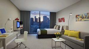 Citadines on Bourke Melbourne studio executive living room HR