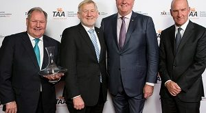 Lord Mayor Peter Doyle celebrates his award for Outstanding Contribution to the Industry with TAA Chair Martin Ferguson AHA National President Peter Burnett TAA Vic Chair Peter Dawson